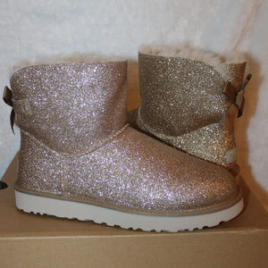 UGG GLITTER SPARKLE MINI BAILEY BOW BOOTS NEW!